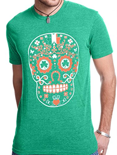 SoRock Men's St. Patrick's Day Sugar Skull Tri Blend Tshirt Xlarge Green