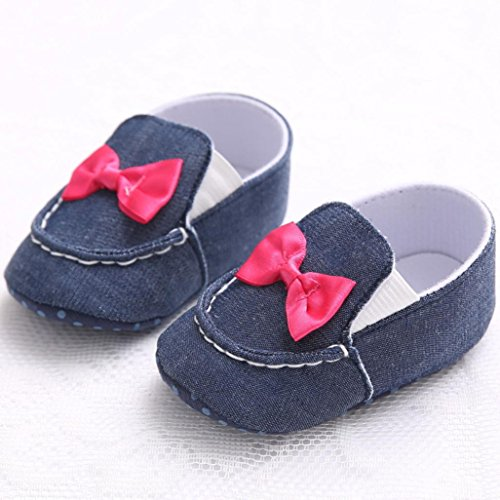 Chaussures Bébé Clode® Bébé bowknot Denim Toddler Princess Première Walkers Filles Kid Shoes (8 ~ 12 Mois)