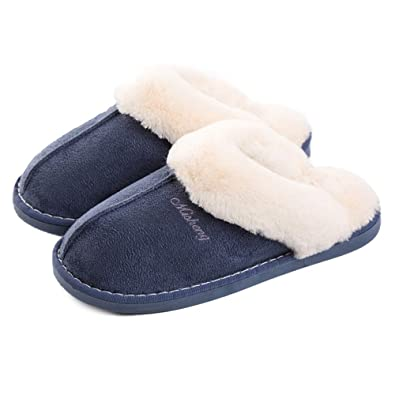 0c2118bd3 Womens Slipper Memory Foam Fluffy Slip-on House Suede Fur Lined/Anti-Skid