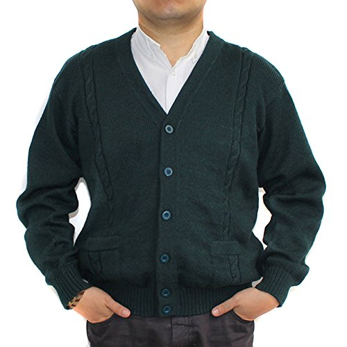 V-neck Wool Blend Cardigan (CELITAS DESIGN Alpaca Cardigan Golf Sweater Jersey BRIAD V neck buttons and Pockets made in Peru Dark Green XXXL)