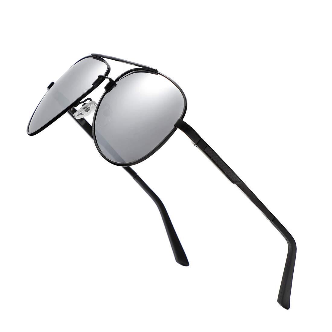 Blacksilver Aviator Polarized Sunglasses for Men Women  UV400 Mirrored Glasses Shades 60mm