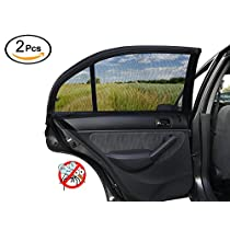 ESYNIC Car Sun Shade 2 Pack Universal Car Window Shade Mesh for Baby Women Kids Pet Breathable Sun Shade Net Backseat Fits Universal Car Window Most Cars SUVs
