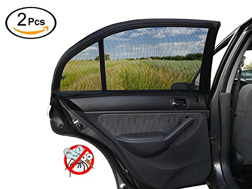 ESYNIC Car Sun Shade 2 Pack Universal Car Window Shade Mesh for Baby Women Kids Pet Breathable Sun Shade Net Backseat Fits Universal Car Window Most Cars - Car Bug Seat