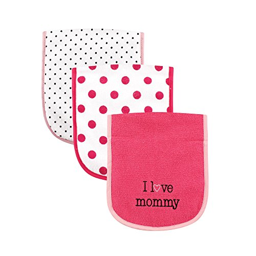 Luvable Friends 3 Piece Burp Cloth with Fiber Filling for Girls, I love Mommy