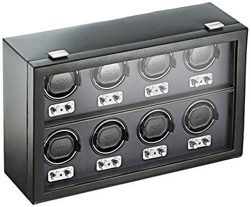 WOLF 270802 Heritage Eight Piece Watch Winder with Cover, Black