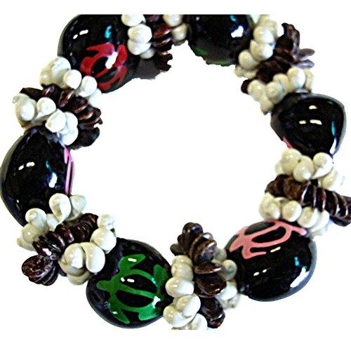 - Hawaiian Black Kukui Nut & Shells w/HP Honu Turtle Bracelet for Graduation Luau Hula