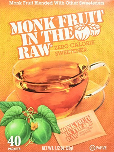 Raw Fruit (Monk Fruit in the Raw Zero Calorie Sweetner (Pack of 3) 40 Count, 1.2 oz Boxes)