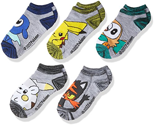 Pokemon Boys' Little 5-Pack No Show Socks, grey light, 6-8.5 (Pokemon Shoes Boys)
