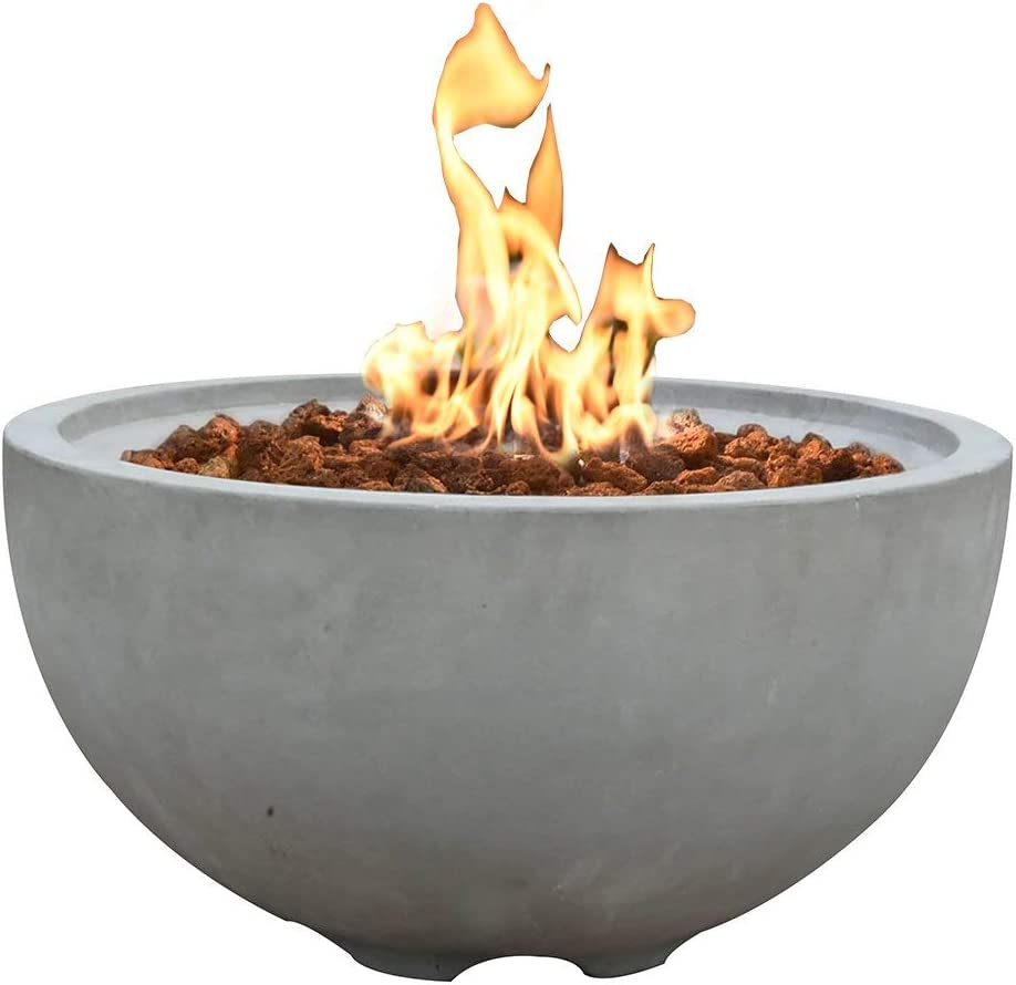 Modeno 26.6 Propane Fire Pit Table Outdoor Patio Furniture Fire Bowl, Concrete with Stainless Steel Burner – Nantucket