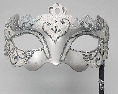 Mask Co Womens Quality Sparkling White /& Silver Venetian Masquerade Party Ball Eye Prom Hand Held on a Stick Mask /& Co