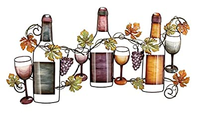 Deco 79 Metal wine Wall Decor, 36 by 19""