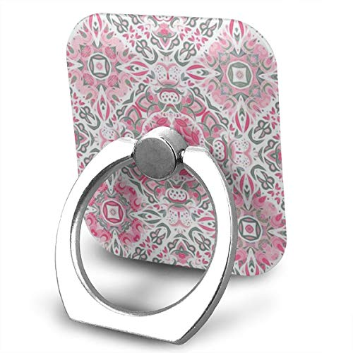 (Cell Phone Holder Bohemian Hexagon Pink Flowers Ring Phone Holder Adjustable 360° Rotation Phone Stand for IPad, Kindle, Phone X/6/6s/7/8/8 Plus/7, Divi, Accessories Desk, Android Smartphone)