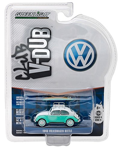 New 1:64 CLUB V-DUB SERIES 4 ASSORTMENT - GREEN 1945 VOLKSWAGEN BEETLE WITH ROOF RACK AND SURFBOARDS Diecast Model Car By Greenlight Beetle Diecast Model