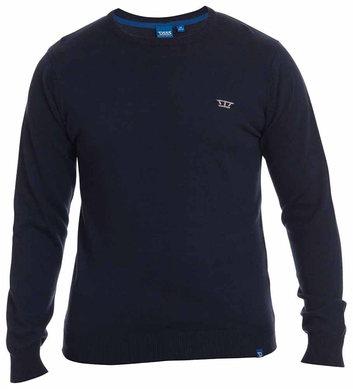 D555 By Duke Kingsize Big Mens Navy Crew Neck Sweater Jumper, Navy (2XL-8XL)