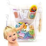 "Original Tub Cubby Bath Toy Storage - Hanging Bath Toy Holder, with Suction & Adhesive Hooks, 14""x20"" Mesh Net Shower Caddy f"