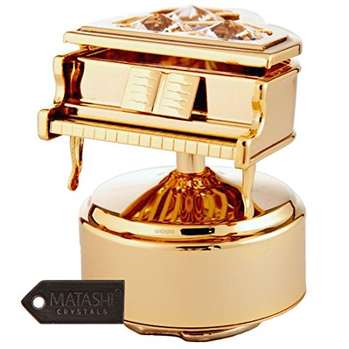 24K Gold Plated Grand Piano Rotating Musical Figurine Made with Genuine Matashi Crystals (Rotating Musical Figurine)