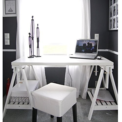 Ikea Linnmon White Desk Table 47x23'' with 2 Trestle Shelf Legs Height and Angle Adjustable, Drawing Table by IKEA