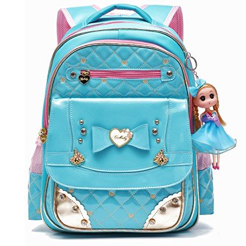 Waterproof PU Leather Kids Backpack Cute School Bookbag
