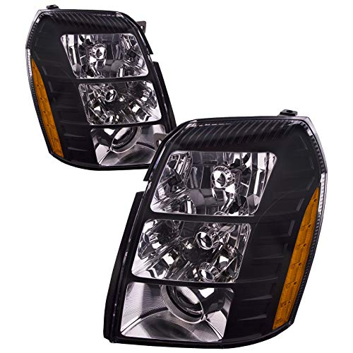 HEADLIGHTSDEPOT Black Housing HID Headlights Compatible with Cadillac Escalade ESV EXT Includes Left Driver and Right Passenger Side Headlamps