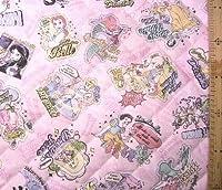 <Qキャラクター・キルティング生地>ディズニープリンセス (ラメグリッター付き・ピンク)#53の商品画像