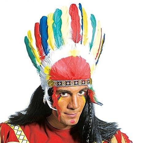 Cabeza joyas indios plumas multicolor indio guerrero copricapo indios pelo joyas: Amazon.es: Juguetes y juegos