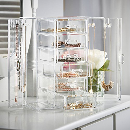 Drawer Acrylic Jewelry Chest (Jewelry Display Chest and Makeup Organizing Armoire 6 Drawers Choice Fun)