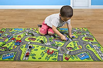 Kids Carpet Playmat Rug City Life - Great For Playing With Cars and Toys - Play, Learn and Have Fun Safely - Kids Baby, Children Educational Road Traffic Play Mat, For Bedroom Play Room Game Safe Area by Angels