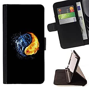 For Samsung Galaxy Note 4 IV FIRE & WATER Beautiful Print Wallet Leather Case Cover With Credit Card Slots And Stand Function