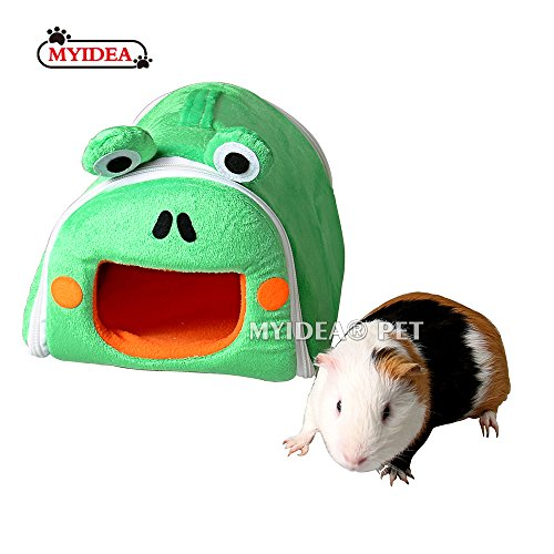 MYIDEA Hamster Guinea Pig Portable Bed - Small Animal Carrying Cage Supplies House Hideout for Rat/Hedgehog/Ferret/Chinchilla/Rabbit Small Animal Cartoon Bedding Hanging Nest (Small, Frogs)