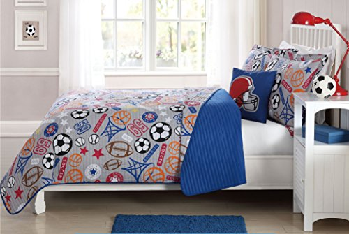 MarCielo 4 Piece Kids Bedspread Quilts Set Throw Blanket for Teens Boys Girls Bed Printed Bedding Coverlet, Full