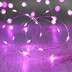 BIENNA String Lights Battery Operated, [Waterproof] 20 LED 6.6ft/2M Copper Wire Starry Fairy Lighting for Outdoor Bedroom Indoor Patio Home House Cafe Christmas Xmas Tree Holiday Wedding Party-Purple