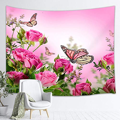 NYMB Pink Flowers Tapestry Wall Hanging, Butterflies on Country Garden Rose Floral Wall Tapestry, Tapestry Blanket for Bedroom Living Room Dorm Home Decor Bedspread, 71X60 in