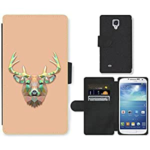Hot Style Cell Phone Card Slot PU Leather Wallet Case // M99999524 Triangle Deer Design // Samsung Galaxy S4 S IV SIV i9500