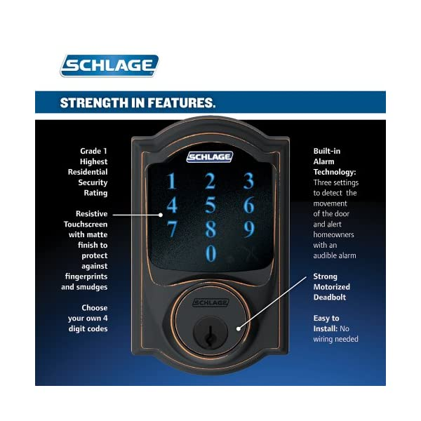 Schlage Connect Camelot Touchscreen Deadbolt with Built-In Alarm and Handleset Grip with Accent Lever, Aged Bronze… 2
