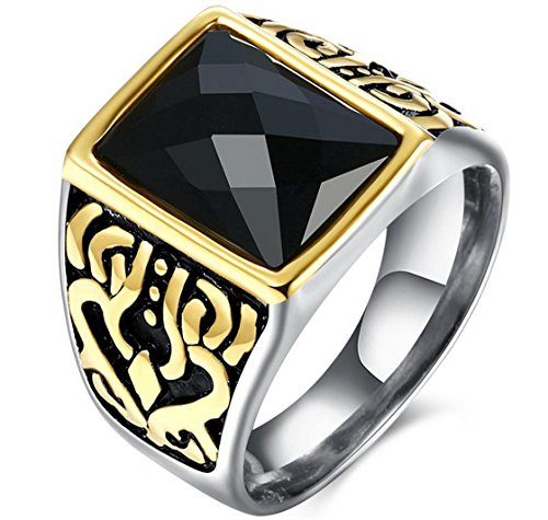 PSRINGS Ring Mosaic Big Square Black Stone Punk Stainless Steel Square Rings Antique Gold Plated Square - Mall Friday Emerald Square Black