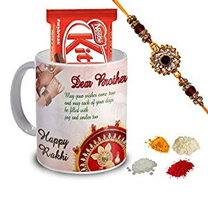 Rakhi Gift For Brother & Sister (Quote Printed Coffee Mug, Kitkat Chocolates, Roli ,Chawal, Chandan & Mishri)