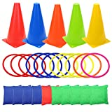 3 in 1 Carnival Games Set, Soft Plastic Cones Set Bean Bag Ring Toss Games for Kids Birthday Carnival Party Outdoor Games Supplies