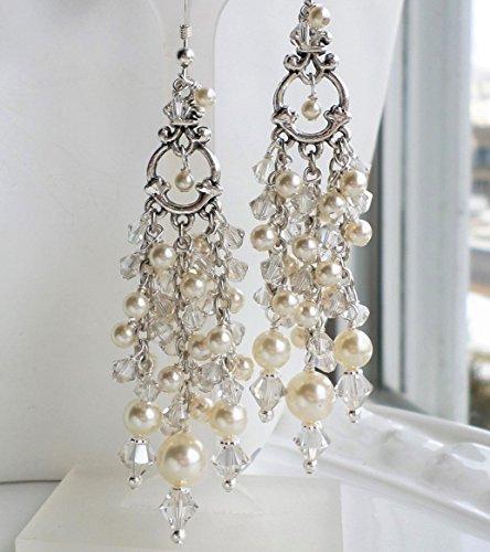 Cream Pearl Antique Silver Ornate Wedding Chandelier (Antique Wedding Ring)