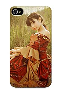 Special Exultantor Skin Case Cover For Iphone 4/4s, Popular Dress Texture Lawn Brunee Mood Phone Case For New Year's Day's Gift