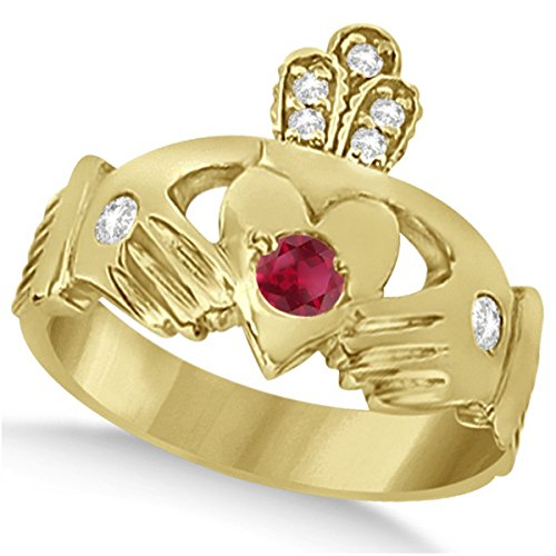 Designer Ruby and Diamond Accented Irish Claddagh Celtic Friendship Ring in 14k Yellow Gold