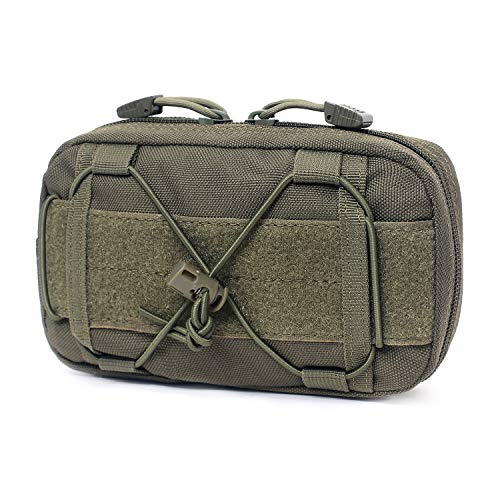 Tactical Molle Horizontal Admin Pouch Compact 1000D Utility EDC Tool Bag with Shoulder Strap (Army Green)