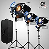 Alumotech 300Watt 650Watt 1000Watt 1950Watt Fresnel Tungsten Spotlight Lamp Dimmer Built-in Cord Dimming Studio Video Light For Camera Lighting Compatible Arri Bulb