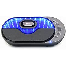 SHABA Infinity Light Bluetooth Stereo Speaker with Infinity 3D Light Effects, 10W Output Power, Power Bank, Equalizer, Build in Mic, TF Card, AUX-IN, FM Radio, Clock and Alarm,Headphone Output(Gray)