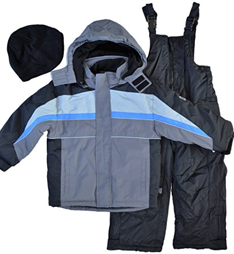Rothschild Boy's Extreme Riders 2-Piece Snowsuit with Fleece Hat Charcoal Grey ()