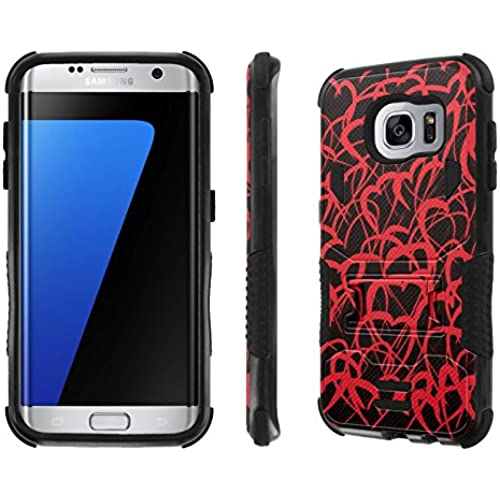 Galaxy S7 Edge Case, [NakedShield] [Black/Black] Combat Tough SHOCK PROOF with KICKStand - [Doodle Love] for Samsung Galaxy S7 Edge / GS7 Sales
