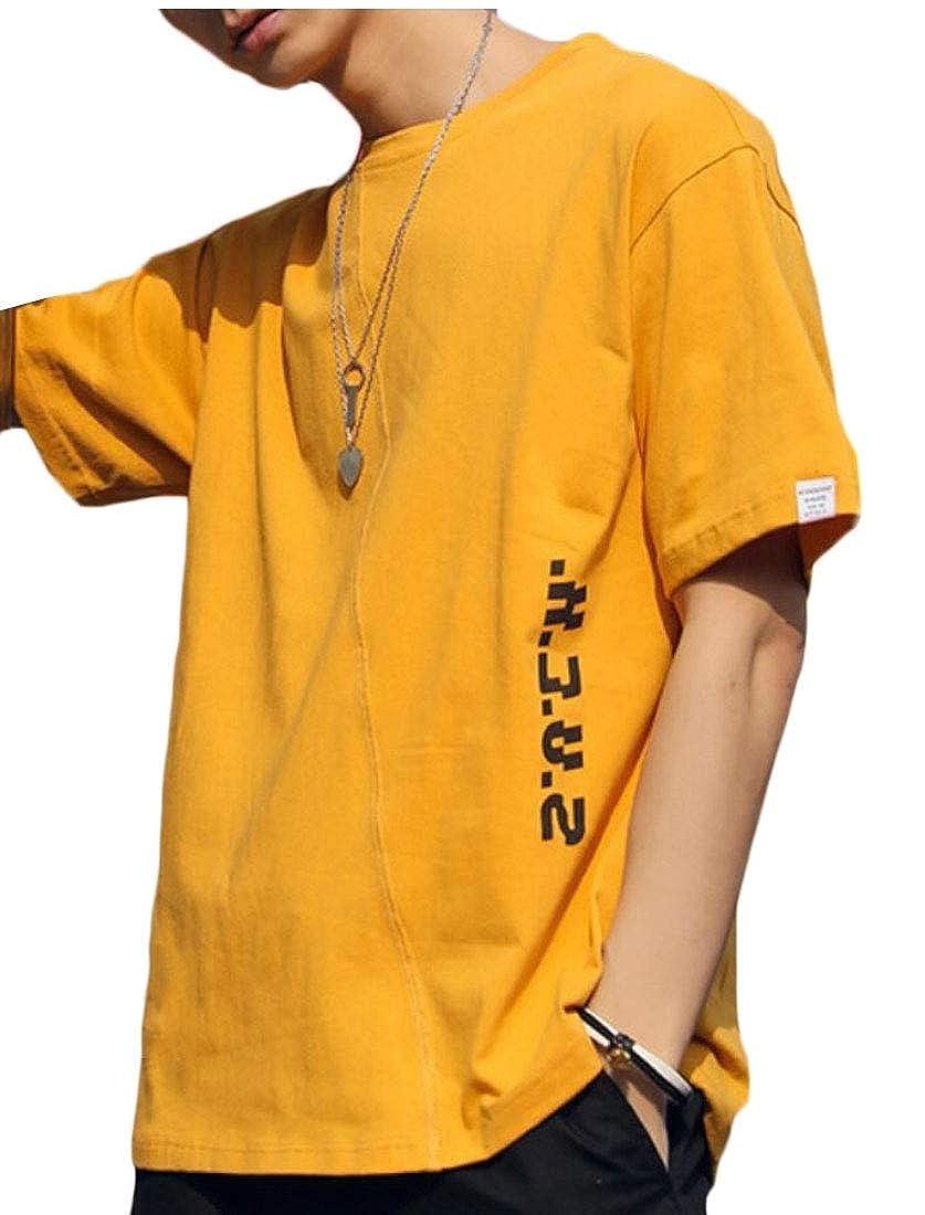 YIhujiuben Mens Short Sleeve Hipster Letter Round Neck Loose Fit T-Shirt