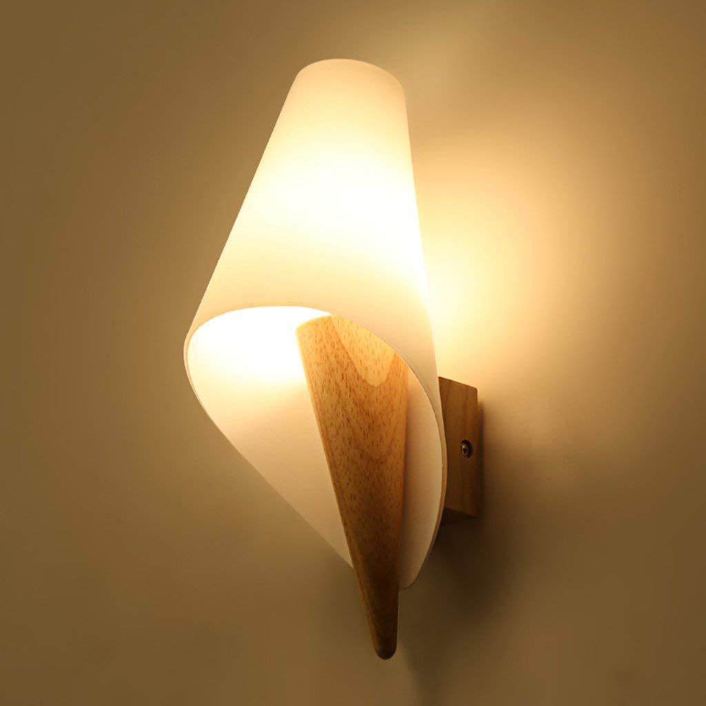 Camera da Letto Led Lampada da parete Comodino Legno Massello singola testa E14 30  16cm Creative arte in legno vetro Soggiorno corridoio balcone selezionare luci (Dimensione   30  16cm)