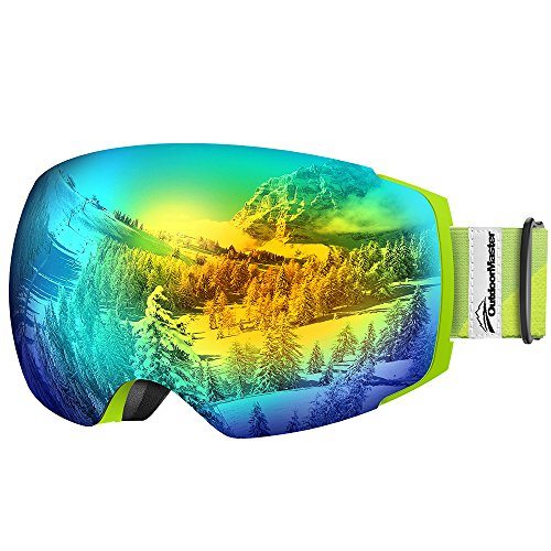 OutdoorMaster Ski Goggles PRO - Frameless, Interchangeable Lens 100% UV400 Protection Snow Goggles for Men & Women ( Light Green Frame VLT 13% Grey Lens with Full REVO Gold and - Goggles Am Pro
