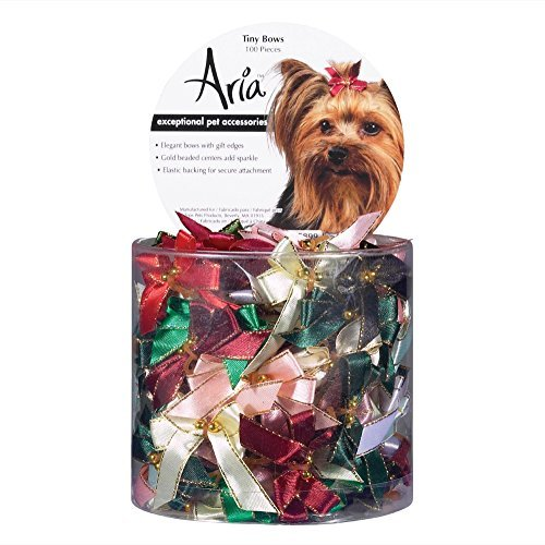 Aria Gold-Beaded Tiny Bows for Dogs, 100-Piece Canisters by Aria (Canister Beaded)
