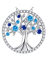 Tree of Life Necklace September Birthstone Blue Sapphire Aquamarine Pendant Amethyst Sterling Silver Jewelry for Women Teen Girls Birthday Gifts for Mom Family